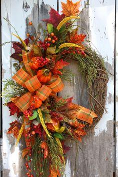 Fall Wreaths - use burlap ribbon--work in skeleton for Halloween Diy Fall Wreath, Autumn Wreaths, Holiday Wreaths, Wreath Ideas, Fall Arrangements, Thanksgiving Wreaths, Deco Mesh Wreaths, How To Make Wreaths, Fall Pumpkins