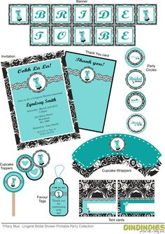 Tiffany Blue Lingerie Bridal Shower Printable Party by Dindindies, £8.62