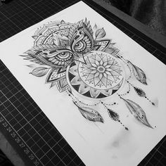 Owldalamooncatcher for tomoz #tattoo #owl #mandala #dreamcatcher #moon #feather #dotworktattoo ...