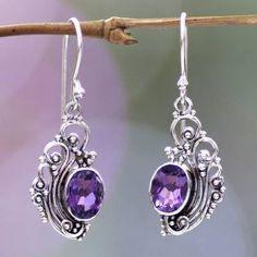 Amethyst Earrings, Sterling Silver Earrings, Dangle Earrings, Silver Jewelry, Fine Jewelry, Silver Rings, Wire Jewelry Patterns, Marcasite Jewelry, Dolphin Jewelry