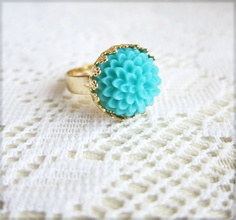 Turquoise Floral Ring by Jewelsalem, $7.99