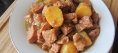 Slow cooker pork and potatoes. Cubed pork with potatoes and mustard cooked in slow cooker.Only three ingredients pork recipe! Pork And Potato Recipe, Cubed Pork Recipes, Pork Recipes For Dinner, Stew Meat Recipes, Slow Cooker Recipes, Crockpot Recipes, Baked Country Style Ribs, Slow Cooker Pork Loin, Cube Recipe