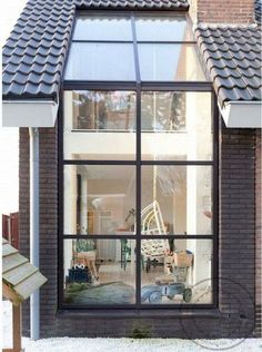 I like this idea but it's kind of ugly. Great idea for skylight-window combo In the Netherlands Méchant Design: renovated farm house Design Exterior, Interior And Exterior, Wall Exterior, Exterior Windows, Skylight Window, Roof Window, Glass Roof, House Extensions, Home Deco