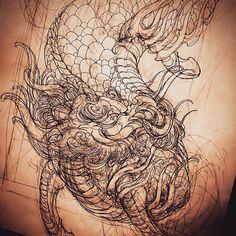 Kirin. #tattoo #art #tattooart #tattooartist #tattooworkers #tattooistartmag #newschooltattoo #japanesetattoo #kirin #kirintattoo #sketch