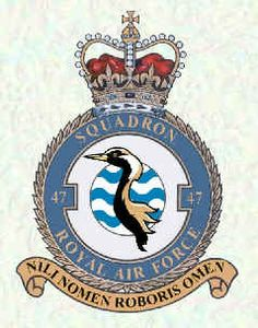 No 47 Squadron Badge Military Cap, Military Insignia, Royal Air Force, Crests, Armed Forces, Airplanes, Badges, Aircraft, Patches