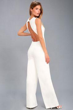 868ca14fd1a Refine and Poise White Backless Wide-Leg Jumpsuit