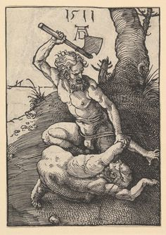 Cain kills Abel is one of artworks by Albrecht Dürer. Medieval Art, Renaissance Art, Albrecht Durer Paintings, Art Sketches, Art Drawings, Faber Castell, Gravure, Religious Art, Ancient Art