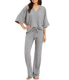 N by Natori Space-Dyed Jersey Pajamas | Dillards