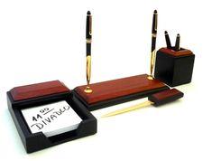LUXURION - kancelárska sada na písací stôl - mahagónové drevo +pozlátené doplnky