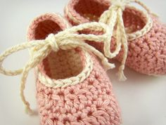 Pink Baby Shoes Crochet Knit Baby Booties by JennOzkan on Etsy, $22.00