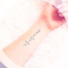 So cute! C'est La Vie meaning Life. C'est La Vie heart pulse tattoo.