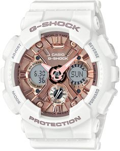 44c49214bdb G-Shock Women s S Series Analog-Digital White and Rose Gold-Tone Watch