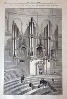 Grand Organ at the Hall of Sciences and Arts, South Kensington, printed in The Engineer (20 January 1871). V&A Archive, MA/49/1/50. © Victoria and Albert Museum, London