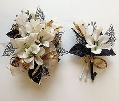 Black& Champagne Corsage & Boutonniere Set Wedding or Prom in Everything Else, Every Other Thing   eBay