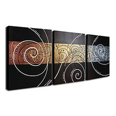 Hand-painted Abstract Oil Painting with Stretched Frame - Set of 3 - Free shipping