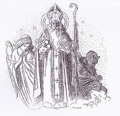 Czech Republic - St . Nicholas and his entourage in different variations! Classical illustration by Mikolas Ales