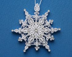 "2015: Sparkler ""Simply Elegant"" Bright White Stellar Snowflake with Swarovski Crystals – Hand Quilled Christmas Ornaments."