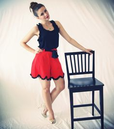 Red Scalloped Shorts With Black Trims And Black Bow - Sample Sale