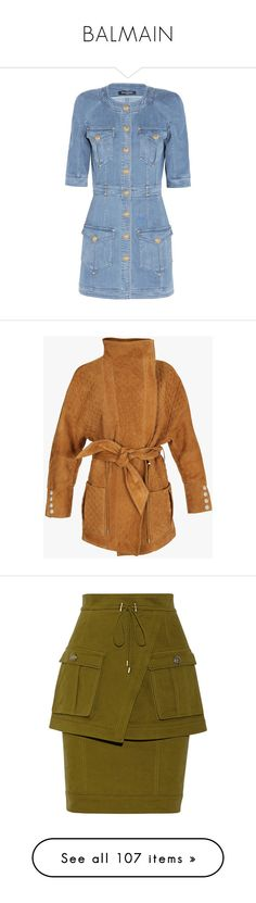 """BALMAIN"" by namelif1 on Polyvore featuring dresses, balmain, outerwear, coats, quilted coat, oversized coat, balmain coat, suede coat, brown coat ve skirts"