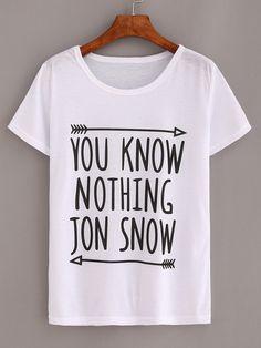 Camiseta letras estampadas -blanco