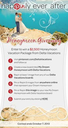 Win a $2,500 vacation package from Delta Vacations! The prize awarded does not need to be used on honeymoon specific vacation. As winner you can use the $2,500 vacation package as you wish! #HappinlyEverAfter