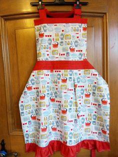 Ladies apron with retro utensils