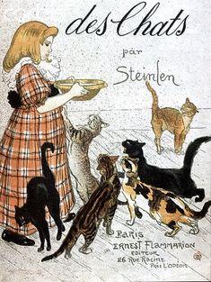 """'Des Chats-Dessins sans paroles' 'Cats: Images without words"""" by Théophile Alexandre Steinlen 1897"""