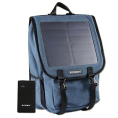 Canvans Backpack with 10W Solar Phone Charger and 10000mAh Power Battery Pack For Smart Cell Phones, Tablets, Digital Cameras,GPS etc. 5V Device. (Blue)