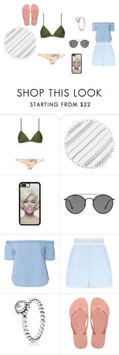 """beachy"" by evakip1 on Polyvore featuring Turkish-T, Ray-Ban, 3x1, Zimmermann, Pandora and Havaianas"