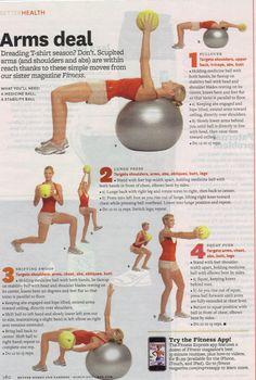 Swiss ball + medicine ball = great workout