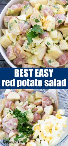 The best easy red potato salad recipe, perfect for picnics, barbecues and potlucks! This healthy classic potato salad is made with egg, greek yogurt, mustard and redskin potatoes. The creamy dressing is irresistible in this no mayo potato salad recipe! #potatoes #potatosalad #sidedish #bbq