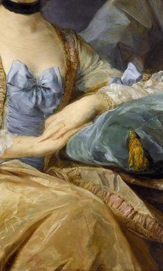 Detalle del Retrato de  Madame de Sorquainville, 1749. Jean-Baptiste Perronneau (1715-1783).