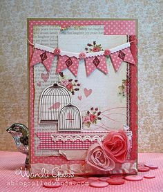 Such beautiful texture on this shabby chic card in pink . bird cages, banners, beautiful fabric roses and more . Pretty Cards, Love Cards, Diy Cards, Shabby Chic Karten, Beautiful Handmade Cards, Card Making Inspiration, Copics, Valentine Day Cards, Creative Cards