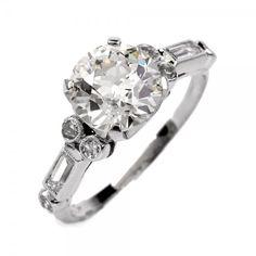 Antique Art Deco 2.23cts Diamond Platinum Engagement Ring Item #: 594920-113001
