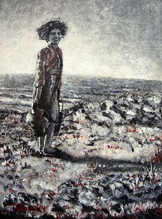 La hija del pescador, obra realizazda con sanguina , carboncillo y acrílicos sobre lienzo y varias texturas.