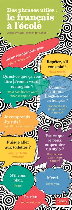 School Phrases Skinny Poster French