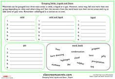 Four differentiated activities for grouping solids, liquids and gases.