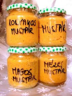 Making homemade flavored mustard - Izesitett mustar keszites otthon Gluten Free Recipes, Vegetarian Recipes, Cooking Recipes, Healthy Recipes, Homemade Mustard, Food 52, Cocktail Recipes, Spices, Food And Drink