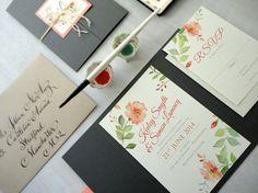 SAMPLE - Romantic Rose Watercolor Wedding Invitation Set