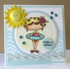 love this card layout with the waves border at the bottom, button sun and image in the center circle - bjl