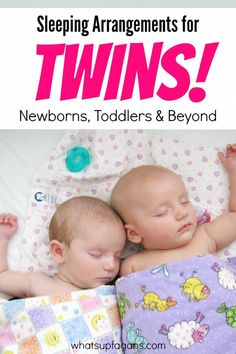 Great sleeping arrangement ideas and tips for twins! All the way from #Crib2College, what to do for newborns, toddlers, and school-aged twin kids. #ad