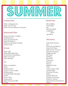 Summer to-do list and daily schedule samples for kids