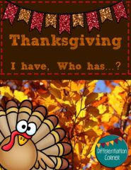 Thanksgiving Game Broaden your students' Thanksgiving vocabulary with this fun I have, Who has...? game! Comes with 24 game cards for students to practice fall vocabulary words in a fun activity :)