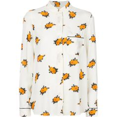 Ganni floral print blouse (€160) ❤ liked on Polyvore featuring tops, blouses, shirts, white, floral shirt, white blouse, long sleeve shirts, floral long sleeve shirt and white floral shirt