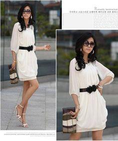 Womens Summer Short Sleeve Chiffon Mini Dress Ladies Party Dress White Fashion - $35