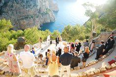 IBIZA ~ A breathtakingly beautiful cliff side ceremony location, at Hotel Hacienda Na Xamena http://www.hotelhacienda-ibiza.com/en Amazing unique wedding venue.