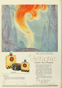 Vintage Advert for Fetiche Perfume by L T Piver - 1925 Perfume Ad, Vintage Perfume, Advertising History, Bottle Design, Graphic Design Art, Vintage Beauty, Vintage Ads, Art Decor, Illustration Art
