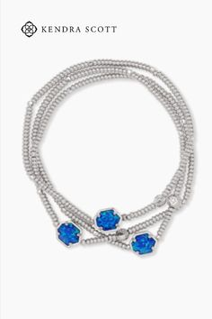 A pop of color to wear stacked or solo, the Tomon Silver Stretch Bracelet in Royal Blue Kyocera Opal is designed to fit any wrist.