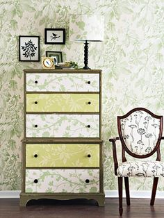 Love this paper front dresser. #DIY #home decor  @Neisha Lockwood - Maybe with the pallets for the DIY couch?