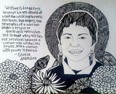 """""Writing is dangerous because we are afraid of what the writing reveals: the fears, the angers, the strengths of a woman under a triple or quadruple oppression,"" Gloria Anzaldúa"" Chicano, Gloria Anzaldua, Types Of Narcissists, Strength Of A Woman, Oppression, Literature, Poster, History, Books"